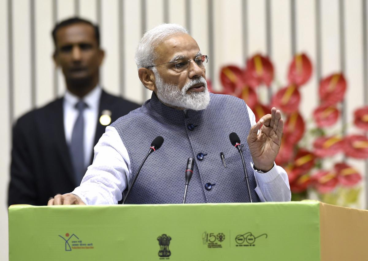 Prime Minister Narendra Modi addresses Construction Technology India 2019 on 'Global Housing Technology Challenge', in New Delhi on Saturday. (PTI Photo)