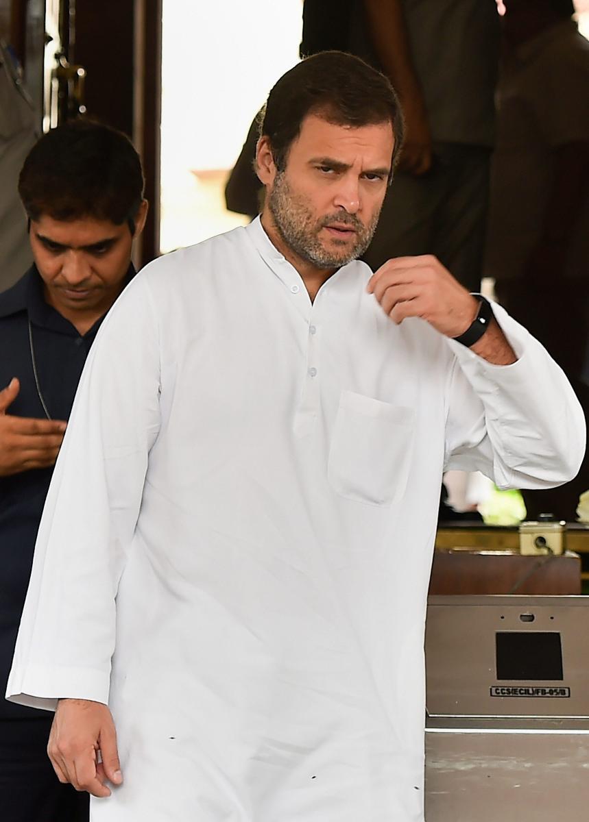 Congress President Rahul Gandhi in New Delhi on Tuesday. PTI