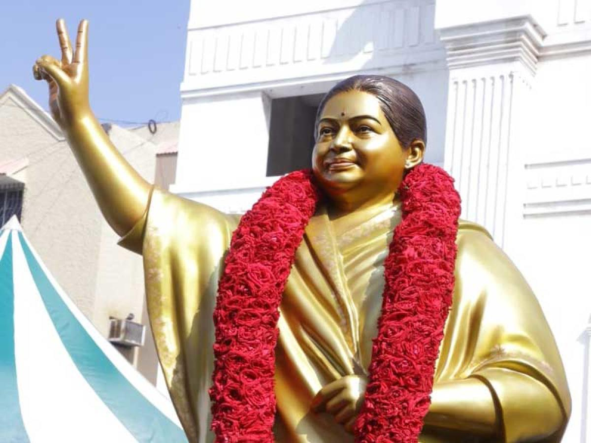 According to a party release, AIADMK coordinator O Panneerselvam and Joint Coordinator K Palaniswami paid floral tributes to the 'refurbished' statue of Jayalalithaa, in the presence of senior leaders, including MPs and state ministers. (Photo courtesy AIADMK)