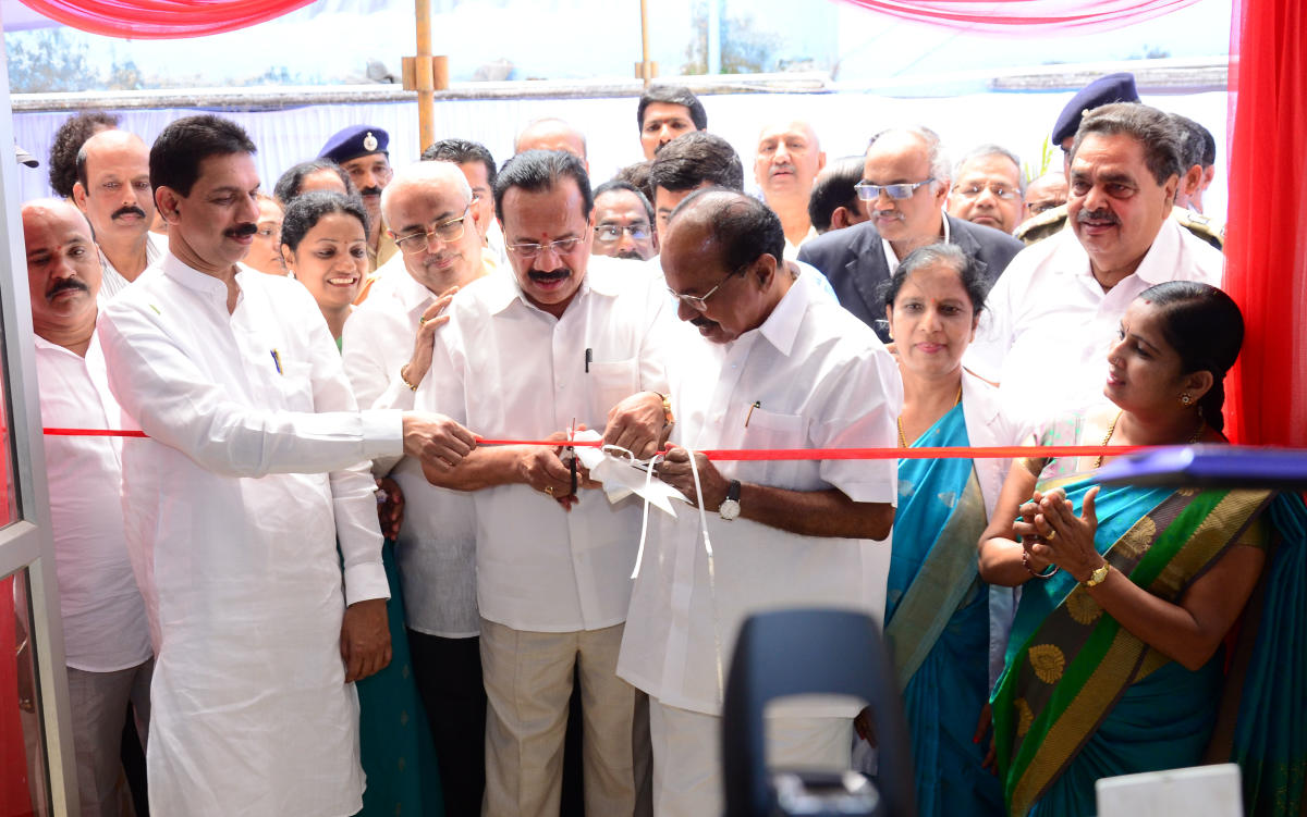 Union Minister for Fertilisers and statistics and programme implementation D V Sadananda Gowda inaugurates the ONGC-MRPL Anniversary Wing of Lady Goschen Hospital in Mangaluru on Saturday. District In-charge Minister U T Khader, Members of Parliament Nali