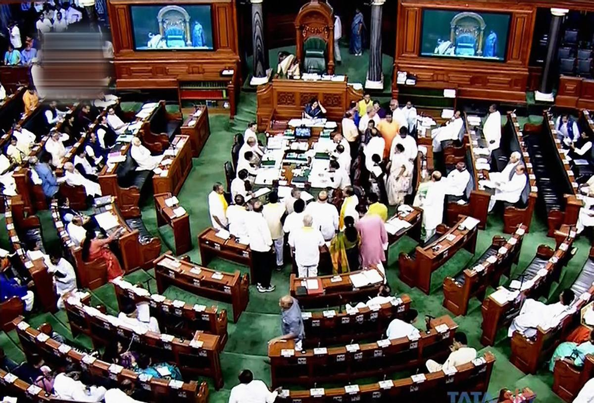 The TDP members were also in the Well as they sought to raise the issue related to Andhra Pradesh. (PTI file photo)