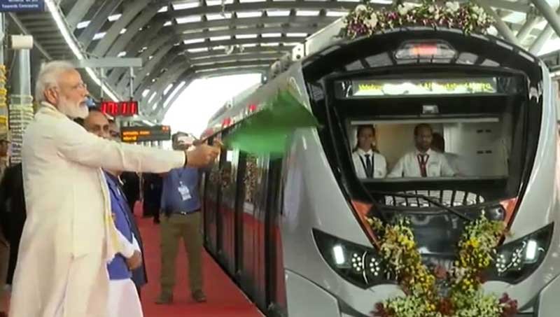 Prime Minister Narendra Modi flags off Metro train in Ahmedabad on Monday. (AIR/Twitter)