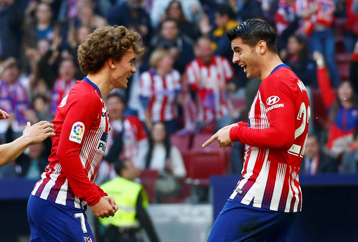 THRILLED: Atletico Madrid's Alvaro Morata (right) celebrates his team's first goal with Antoine Griezmann. Reuters