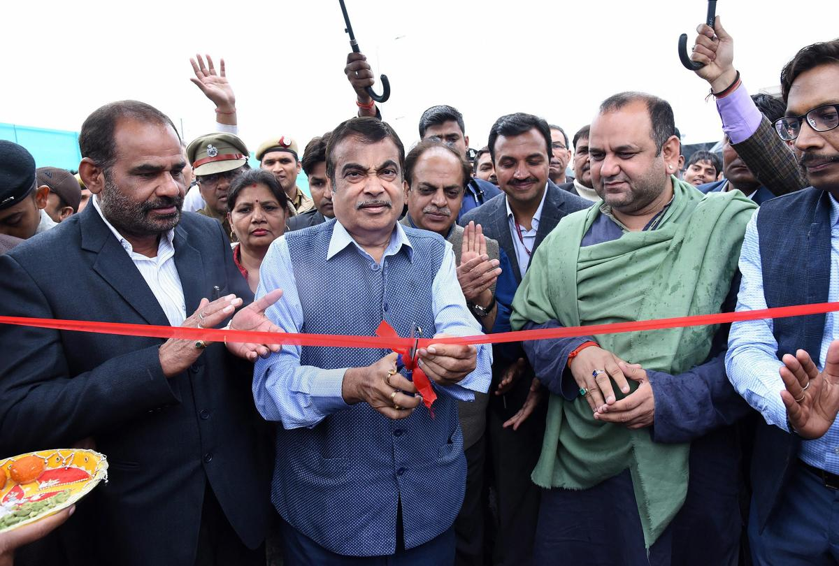 Union Minister for Road Transport & Highways, Shipping and Water Resources, River Development & Ganga Rejuvenation Nitin Gadkari inaugurates the Dhaula Kuan Flyover, in New Delhi, Saturday, March 2, 2019. (PIB/PTI Photo)