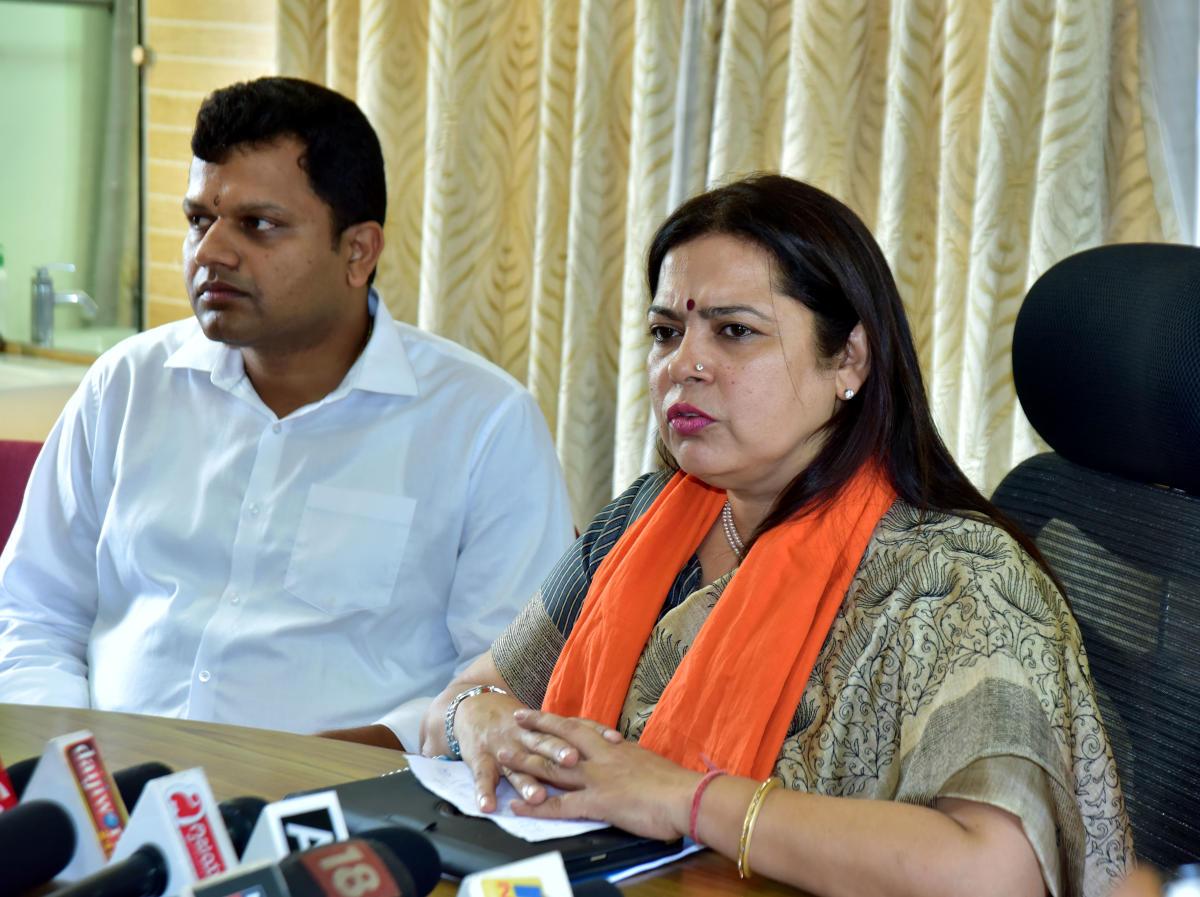 BJP National Spokesperson Meenakshi Lekhi addressing mediapersons at Circuit house on Sunday.