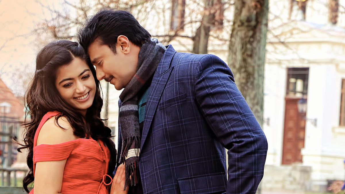 Rashmika Mandanna and Darshan in 'Yajamana'.