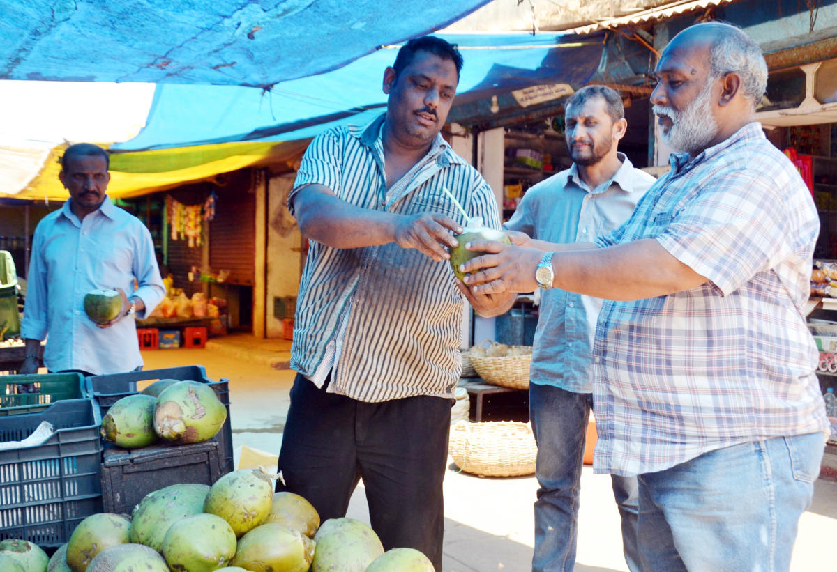 People have been thronging tender coconut stalls to beat the heat.