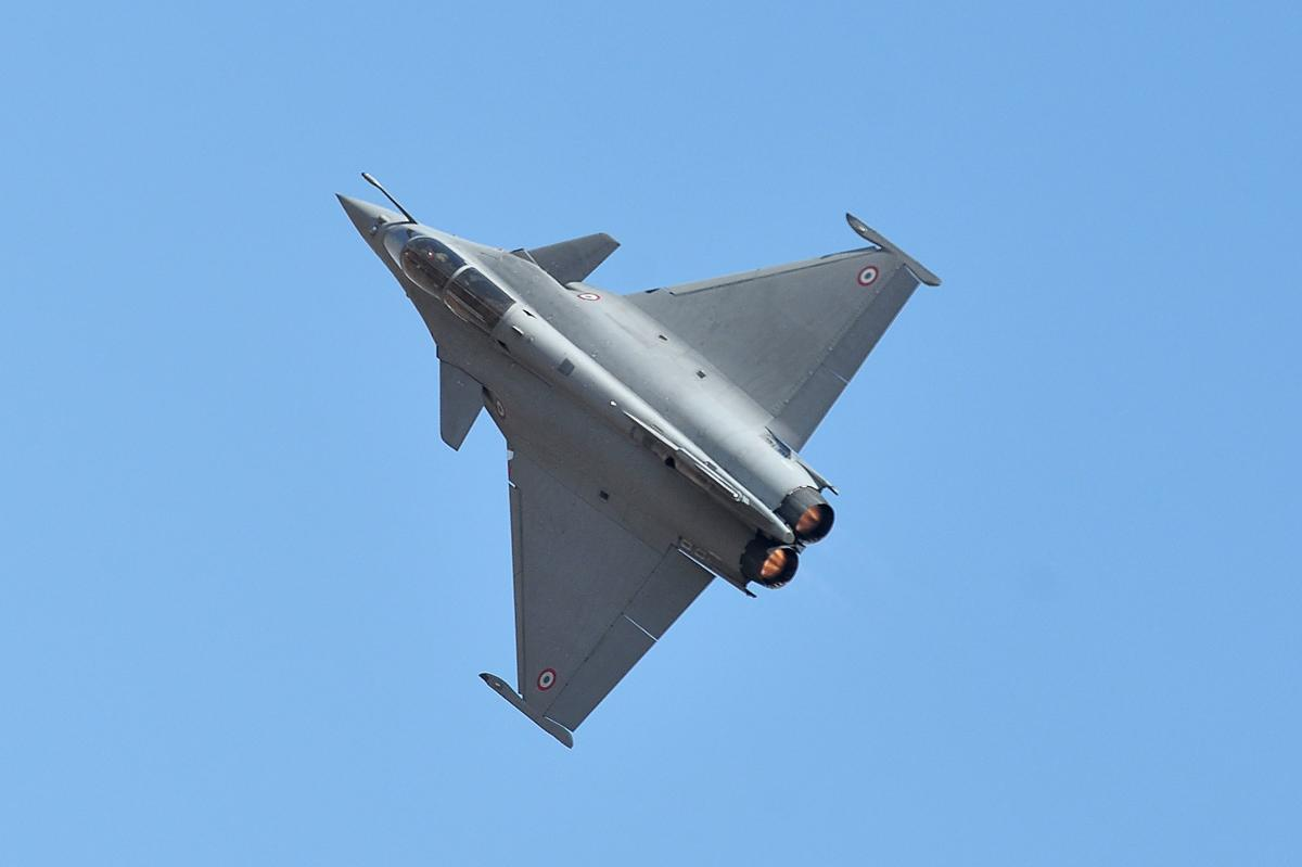 A Dassault's Rafale fighter jet performs a manoeuvre during a flying display on the inaugural day of the five-day Aero India 2019 airshow at the Yelahanka Air Force station, in Bengaluru. AFP