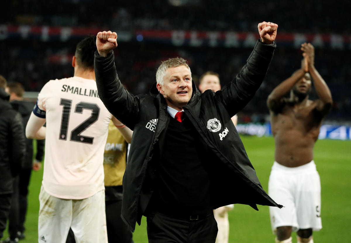 WE DID IT! Manchester United's interim manager Ole Gunnar Solskjaer celebrates after his team's epic win over Paris Saint Germain. REUTERS