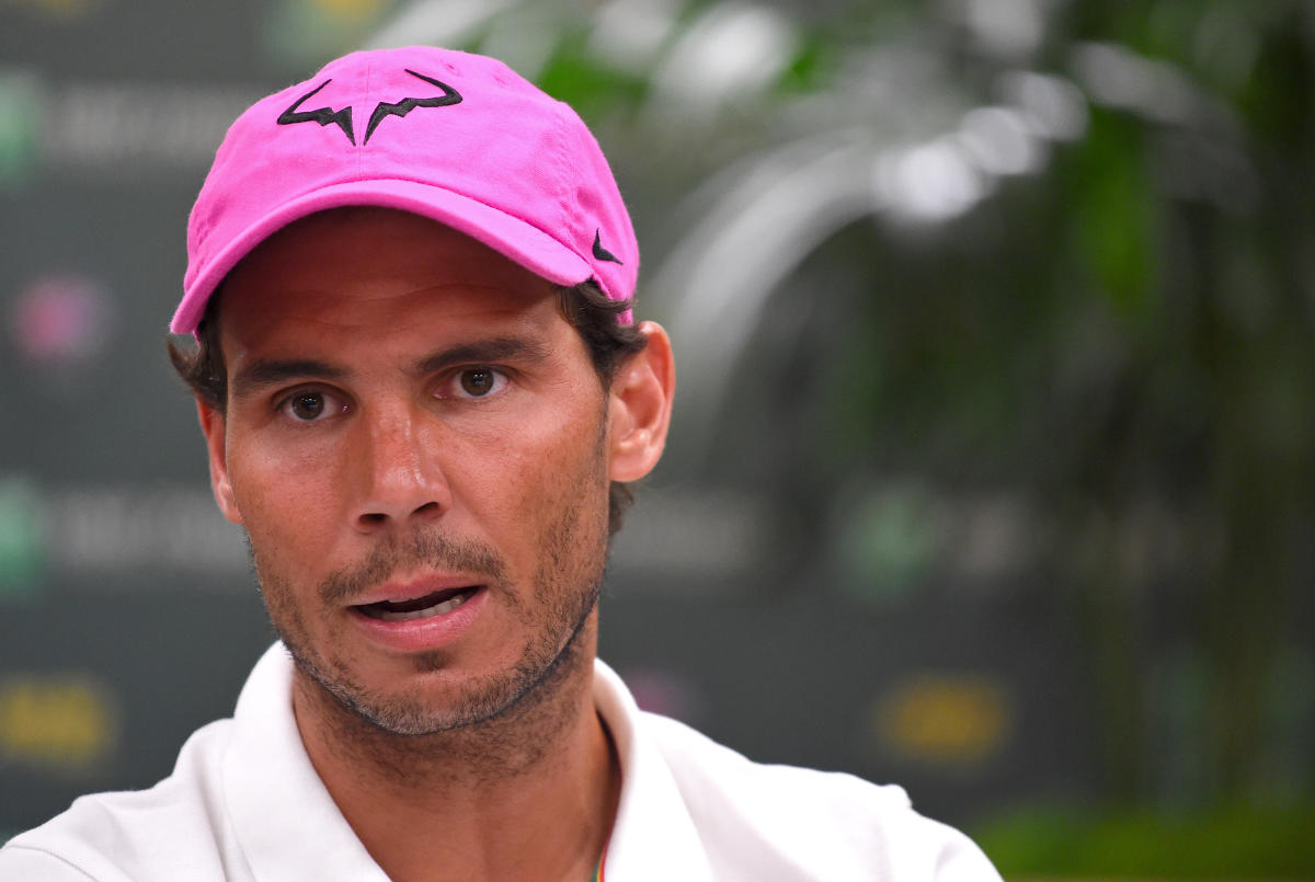 STRAIGHT TALK: Spain's Rafael Nadal during a press conference at the Indian Wells Masters on Wednesday.