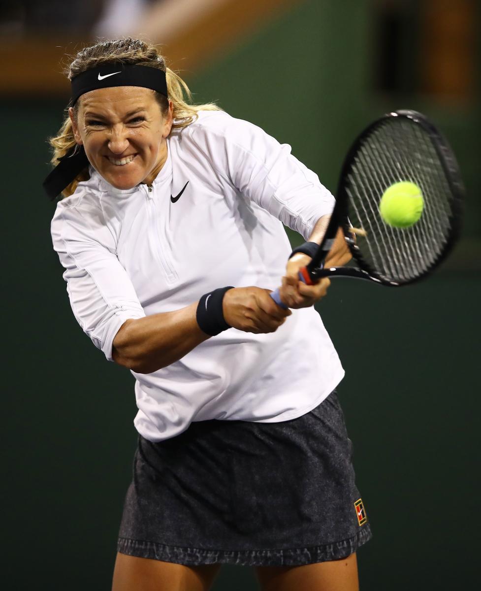 FIERCE: Victoria Azarenka of Belarus returns during her win over Vera Lapko of Belarus. AFP