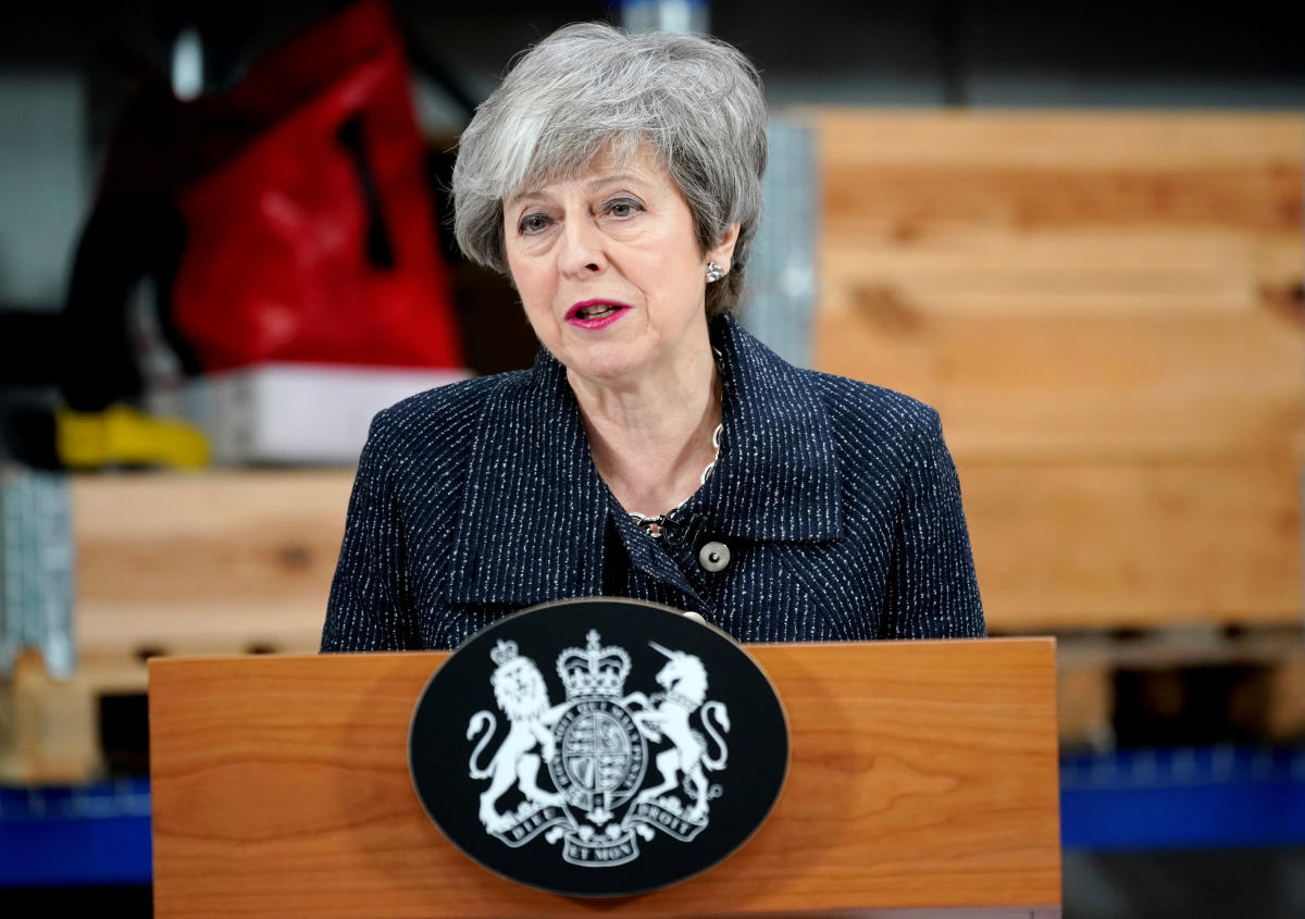 Prime Minister Theresa May speaks on Brexit ahead of next week's vote in Parliament on her revised Brexit deal in Grimsby. Reuters photo