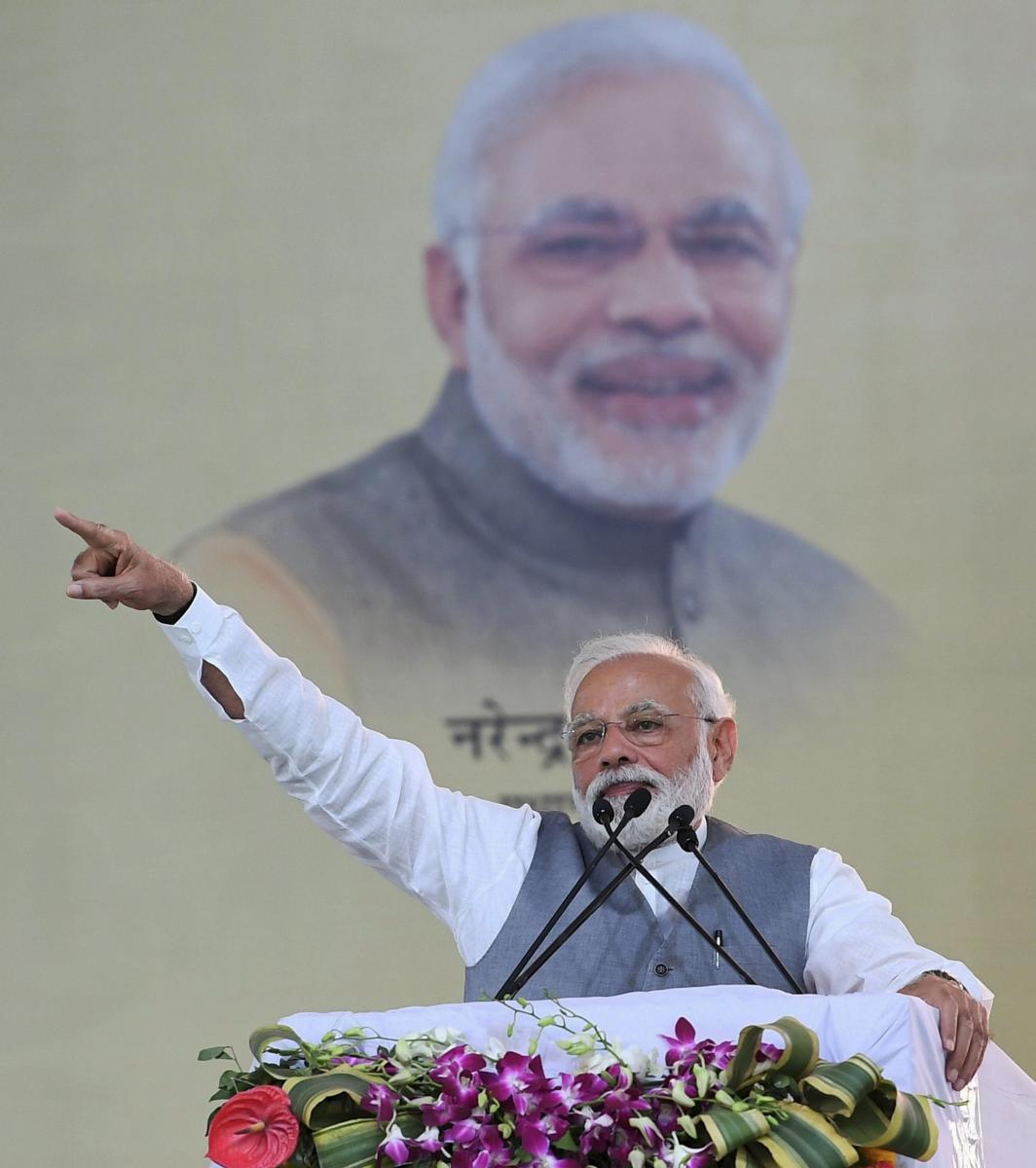 Prime Minister Narendra Modi addresses a public rally, in Ghaziabad, Friday, March 8, 2019. (PIB/PTI Photo)