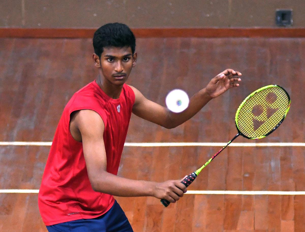 POISED: Aditya Diwakar, who has won a string of State-ranking titles in badminton, represents his school in basketball also. DH photo/ Srikanta Sharma R