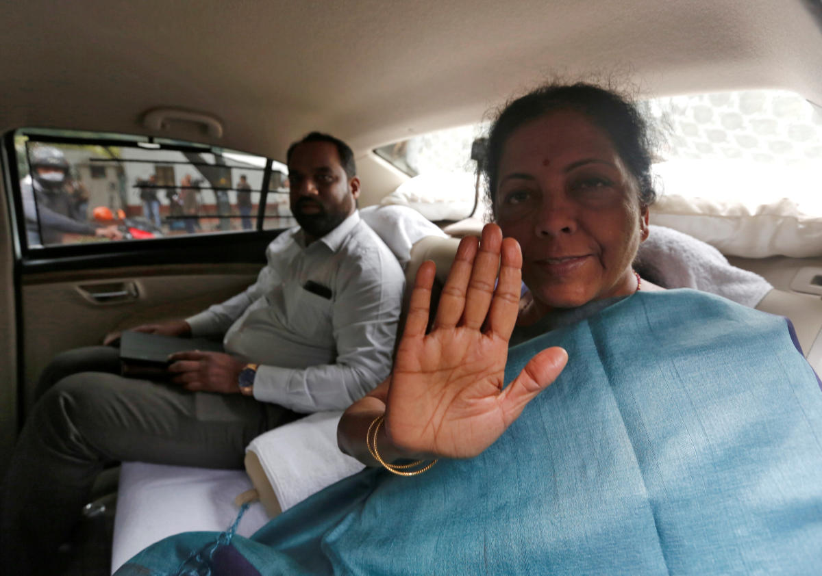India's Defence Minister Nirmala Sitharaman gestures as she leaves after attending the Cabinet Committee on Security (CCS) meeting at the prime minister's residence in New Delhi, India, February 26, 2019. REUTERS/Adnan Abidi