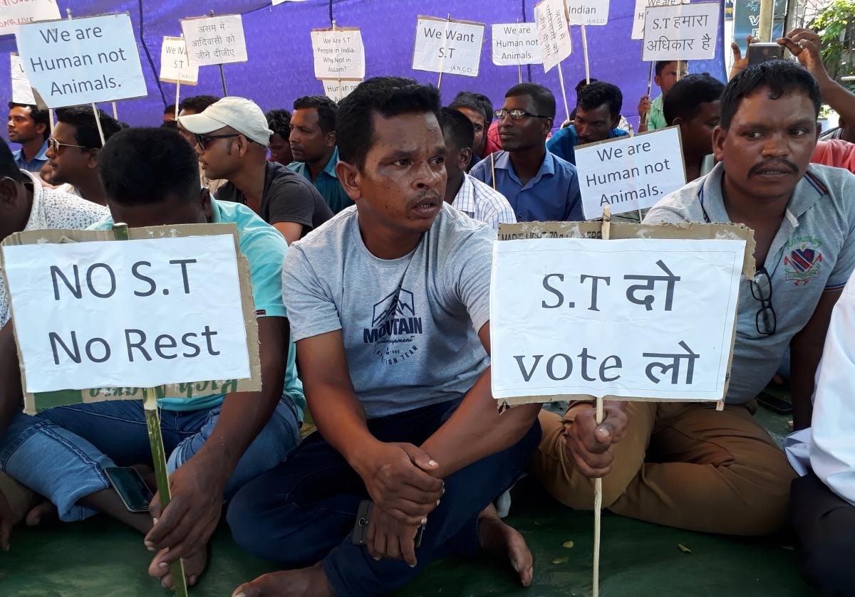 An agitation held in Guwahati recently demanding Scheduled Tribe status for the tea tribes in Assam.