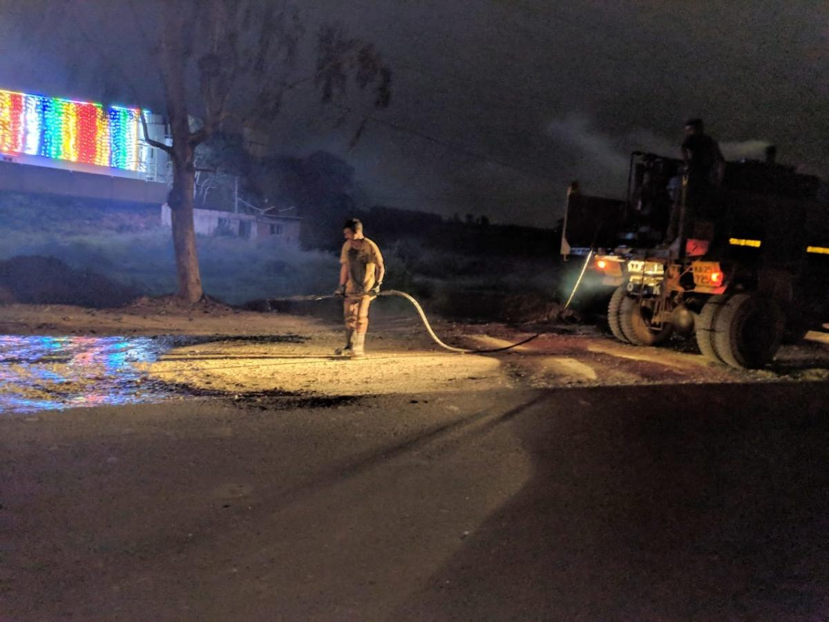 Burgeoning construction activities in the IT corridors of Mahadevapura zone have left roads with full of sand and silt. SPECIAL ARRANGEMENT