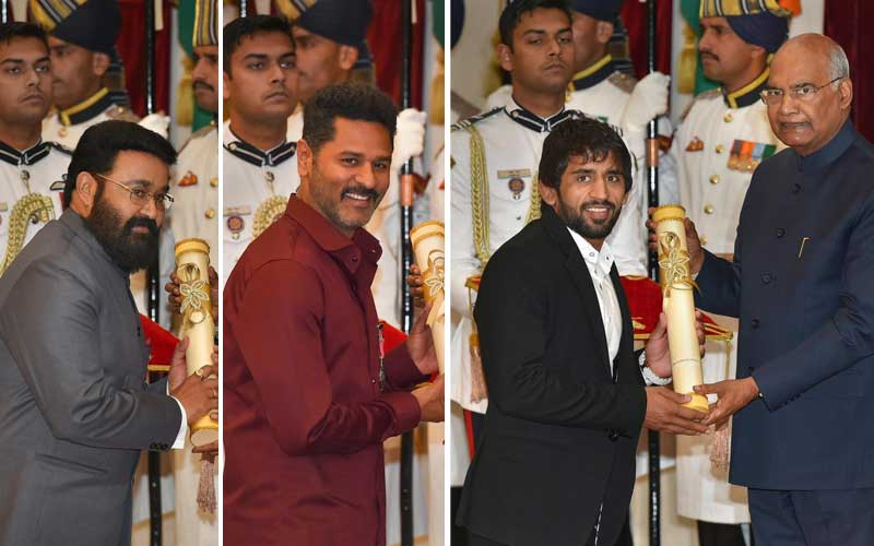 President Ram Nath Kovind confers Padma awards to Mohanlal, Prabhu Deva, and Bajrang Punia. PTI photo