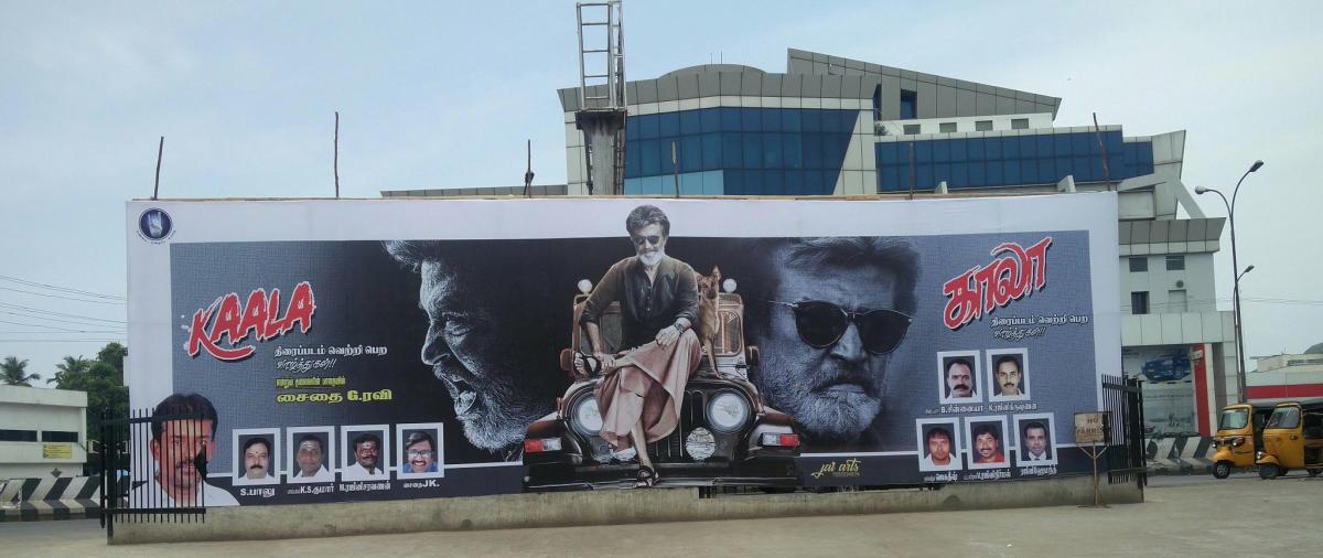 Kaala poster at a cinema theatre in Chennai.