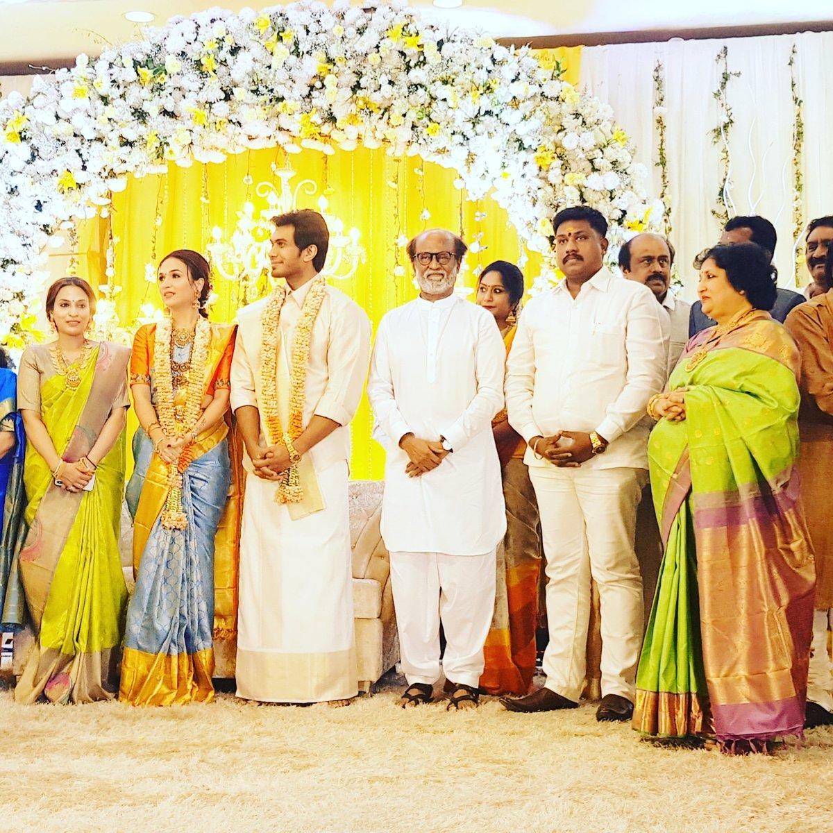 The pre-wedding reception was held at the Sri Raghavendra Kalyana Mandapam, owned by Rajinikanth, on Friday – the couple will tie the knot at a gala wedding ceremony on Monday morning at a five-star hotel in the city.