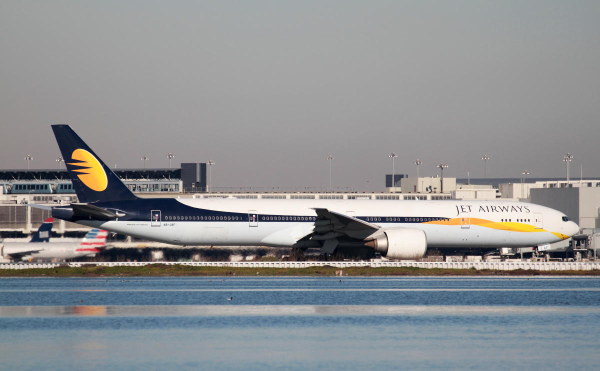 FILE PHOTO: A Jet Airways Boeing 777-300ER taxis at San Francisco International Airport, San Francisco, California, February 16, 2015. REUTERS/Louis Nastro/File Photo