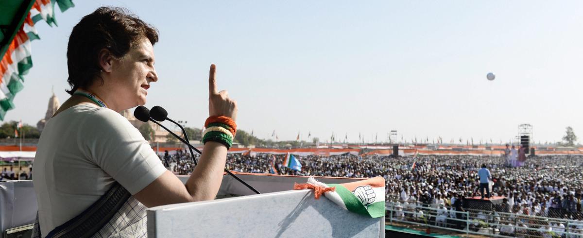 Congress General Secretary Priyanka Gandhi Vadra addresses a public meeting ahead of Lok Sabha elections, in Gandhinagar on Tuesday. PTI