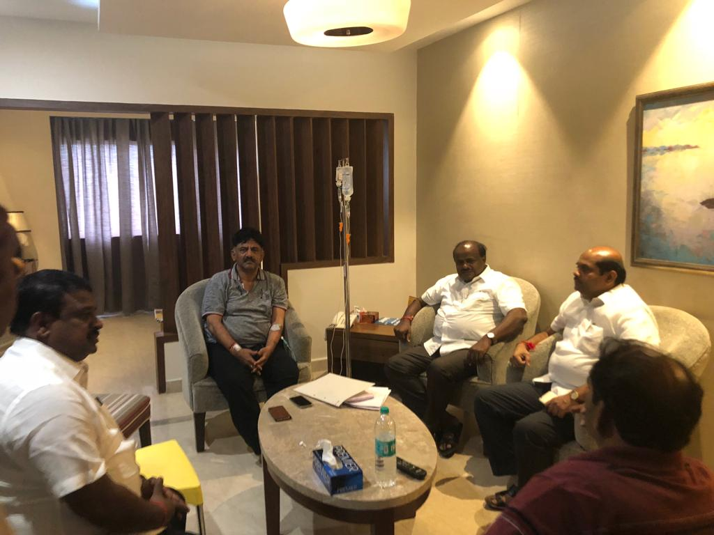 Chief Minister H D Kumaraswamy visits Water Resources Minister D K Shivakumar at the hospital to enquire about his health. He was accompanied by Cooperation Minister Bandeppa Kashempur and JD(S) MLA C N Balakrishna.