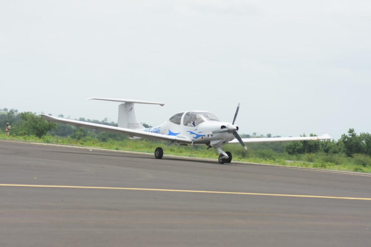 A training sortie lands at the new airport in Kalaburagi on Sunday.