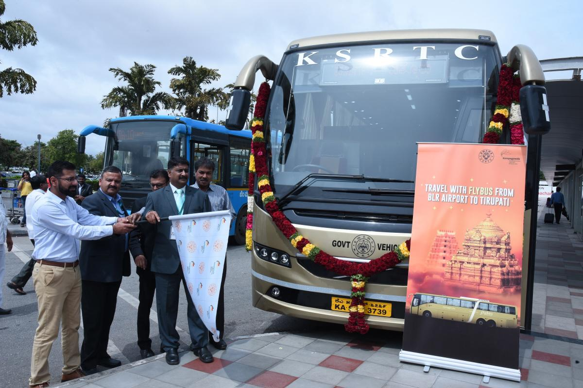 Flybus service flagged off to Tirupathi from Kempegowda International Airport here on Monday.