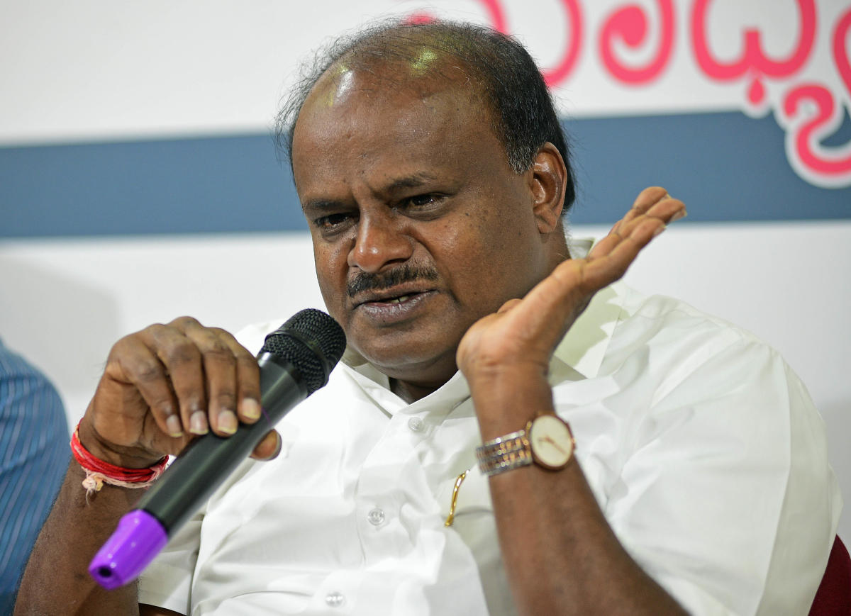 "Seeking to put up a brave front, Kumaraswamy said, ""I know my strength. My government is stable. Don't worry."" DH file photo"