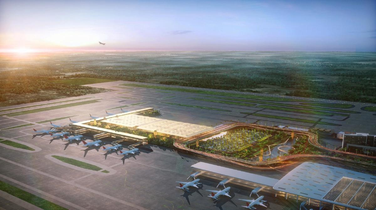 Artist impression of the upcoming second terminal (T2) of the Kempegowda International Airport, and its link to the existing terminal, apron and runways