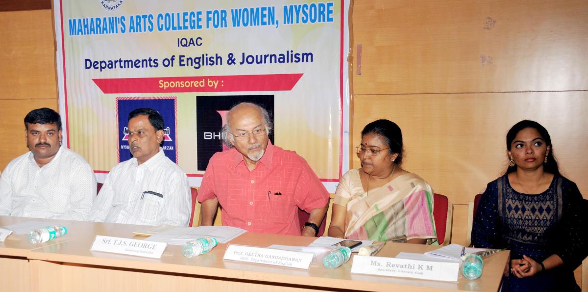 Assistant Professor S G Raghavendra, principal C H Prakash, writer T J S George, Prof Geetha Gangadharan and Literary Club Secretary K M Revathi take part in an interaction at Maharani's Arts College for Women in Mysuru on Thursday.