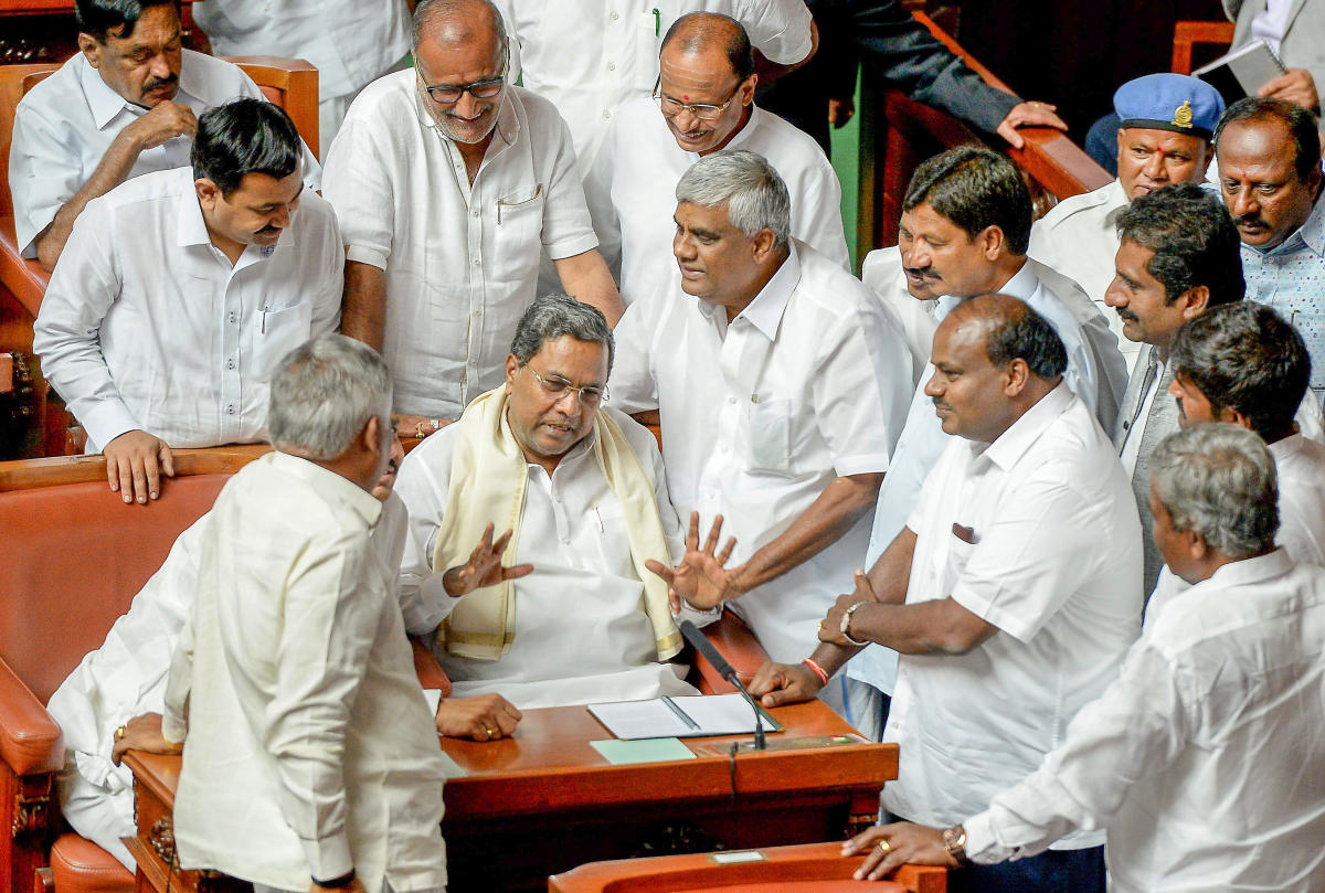 """Yeddyurappa's remarks come a day after Siddaramaiah declared that his opponents had """"teamed up"""" and plotted his defeat in Chamundeshwari constituency, during the Assembly elections held in May. (DH File Photo)"""