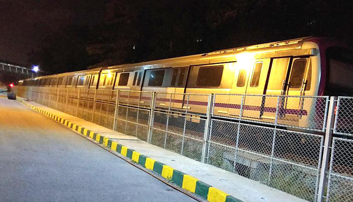 Namma Metro six car train trail run on going during the night time from Byiyappanahalli metro depo in Bengaluru.