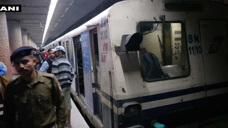 The incident resulted in Metro Services being disrupted for several hours. (Image: ANI/Twitter)