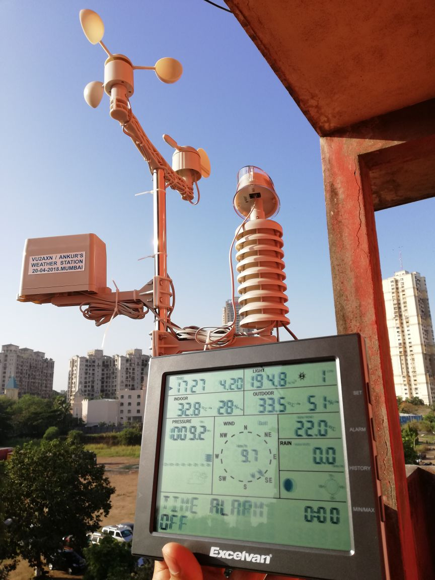 These weather station can provide details like indoor and outdoor temperature, atmospheric pressure, rainfall in cm / mm, wind speed, wind direction, humidity, due point,UV light and so on.
