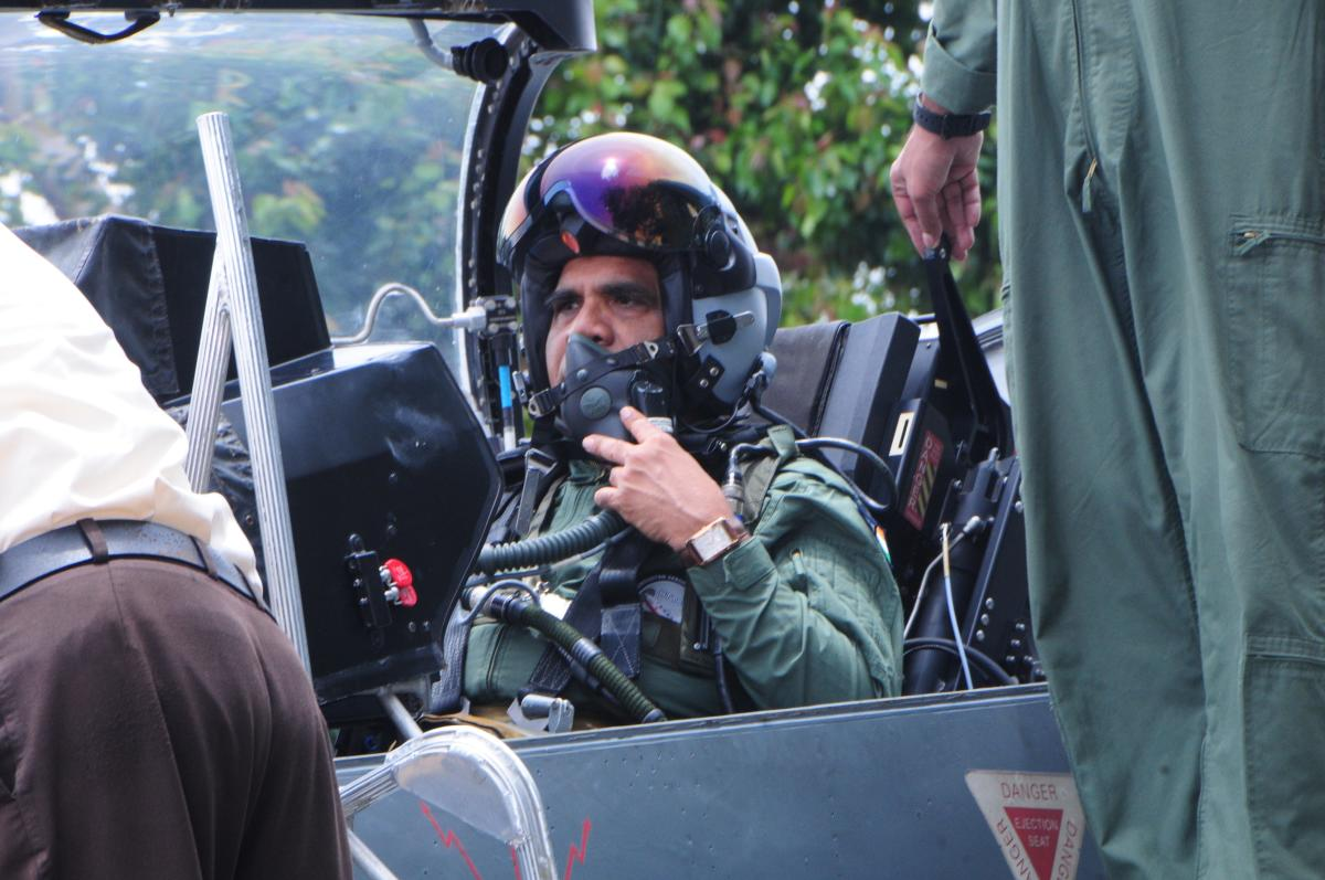 HAL Chairman and Managing Director flew the LCA Tejas from the HAL Airport here on Wednesday