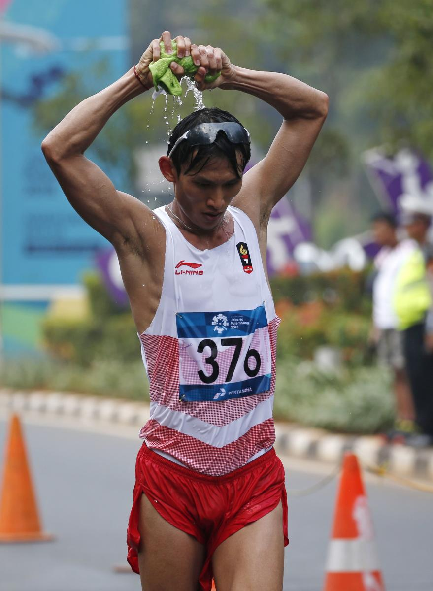 Indonesia's Hendro during the men's 50km race walk in Jakarta on Thursday. REUTERS