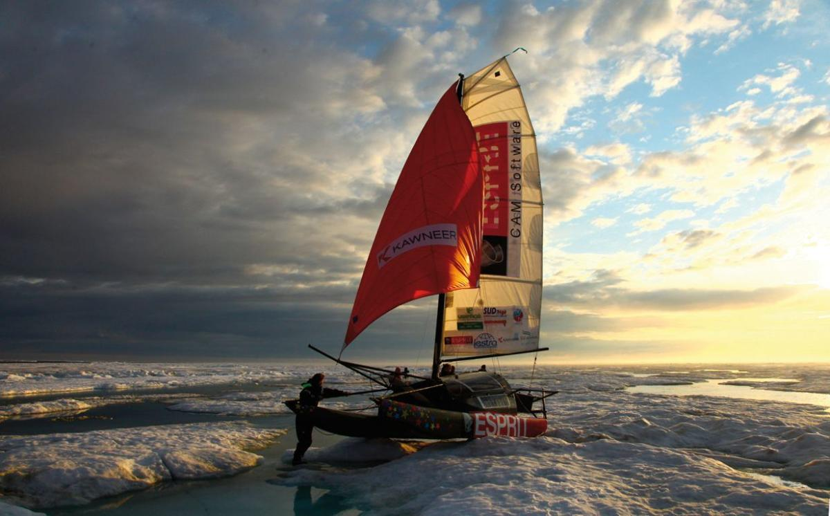 A picture released by Adrenaline expedition on August 21, 2018 and taken on June 22, 2013 shows the Babouch'ty multihull sailing in an unspecified location of the Arctic Ocean. - Three French explorers, led by French scientist Sebastien Roubinet, are curr