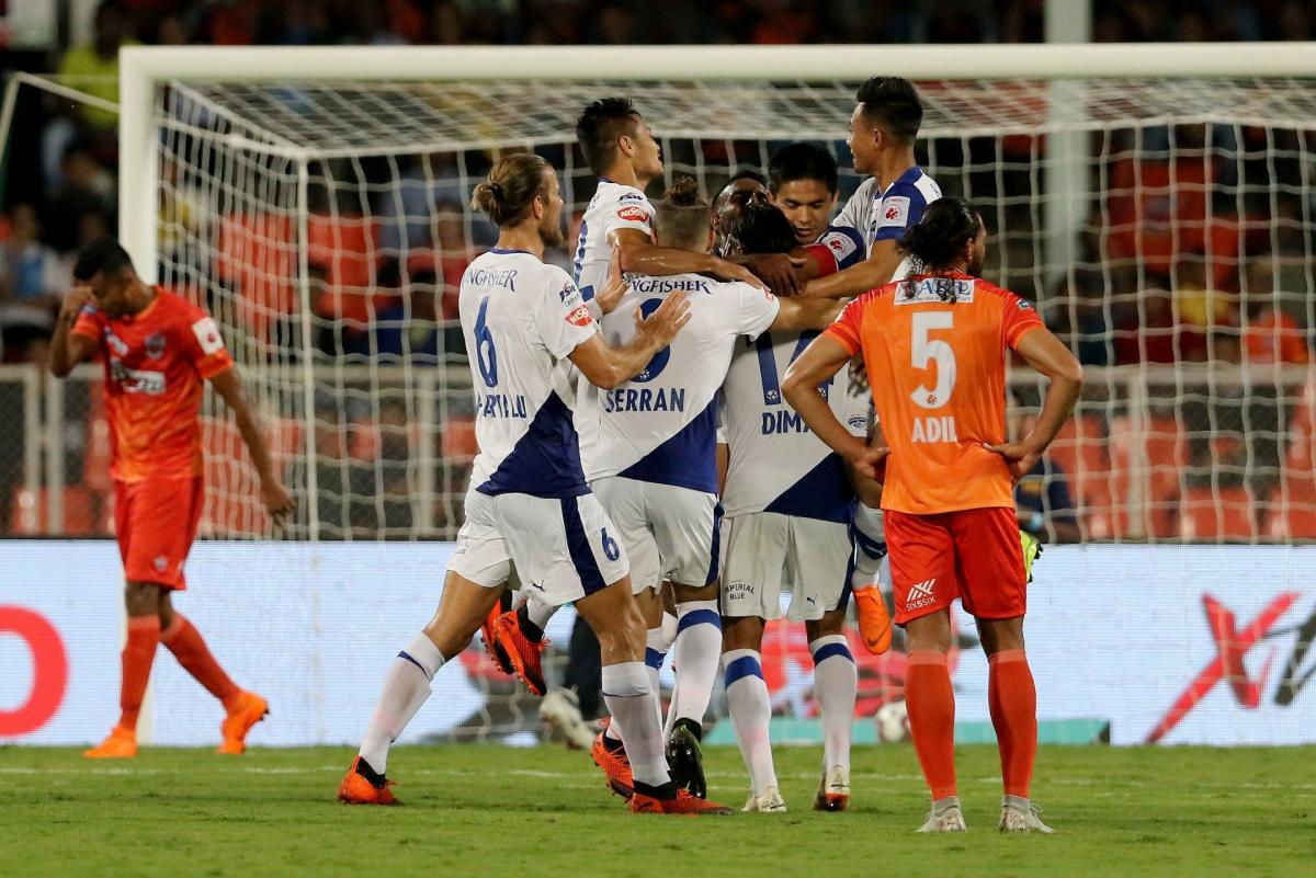 Bengaluru FC players celebrate a goal against Pune City in the Indian Super League in Pune on Monday. ISL Media