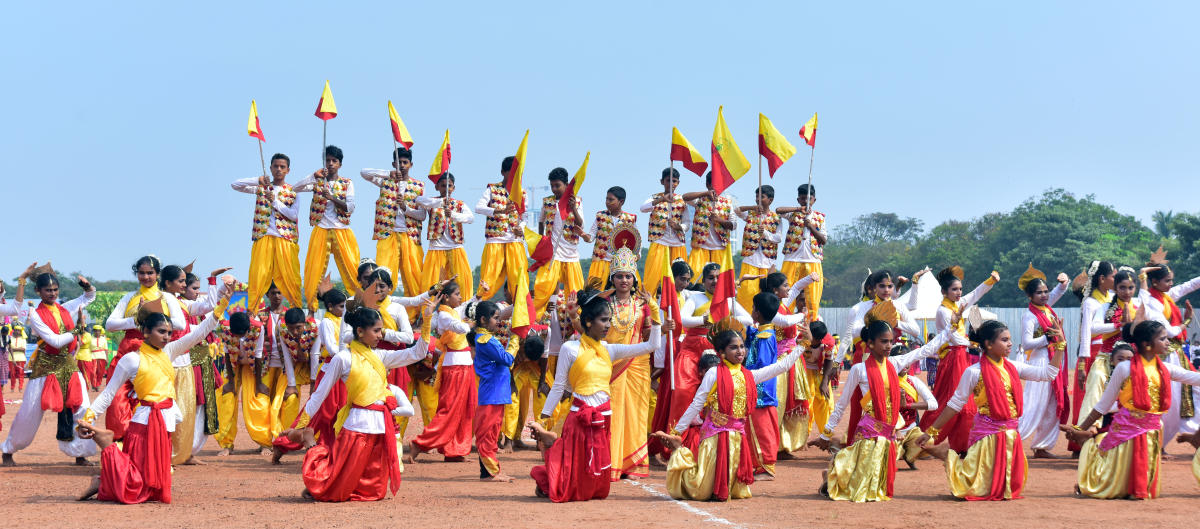 Students perform cultural programmes during the Rajyotsava celebrations organised at Nehru Maidan in Mangaluru on Thursday.