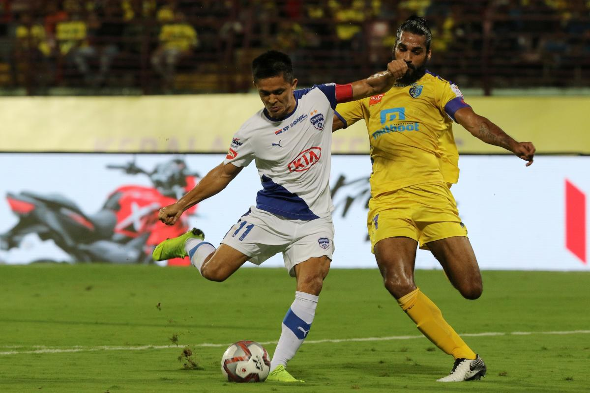 ON TARGET: Bengaluru FC's Sunil Chhetri scores his team's first goal against Kerala Blasters. BFC MEDIA.
