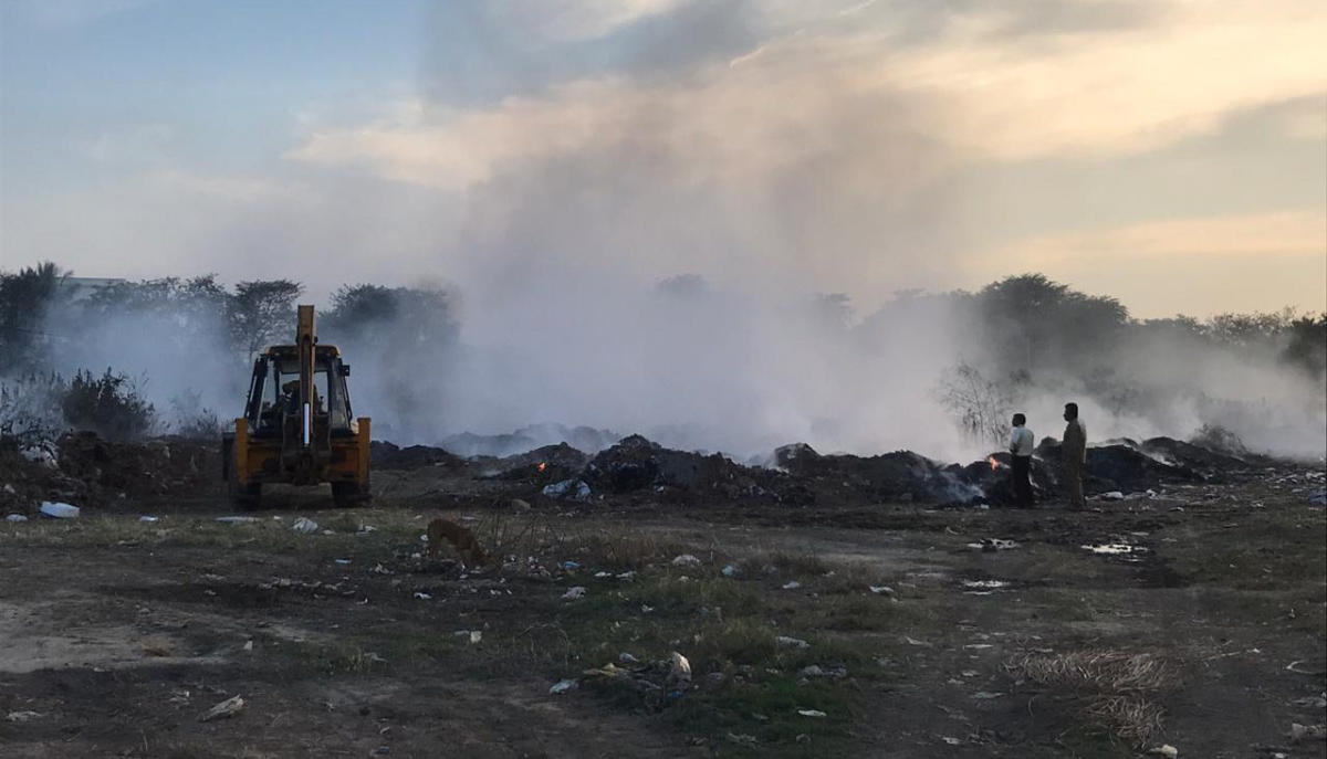 Garbage burning for long hours at HAL institute premises on Monday.