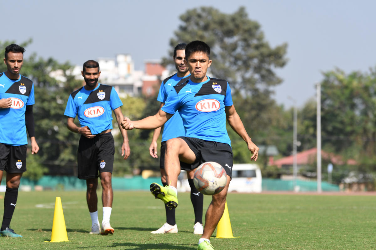 HAVING A BALL: Bengaluru FC players train on the eve of their encounter against Mumbai City FC. BFC Media