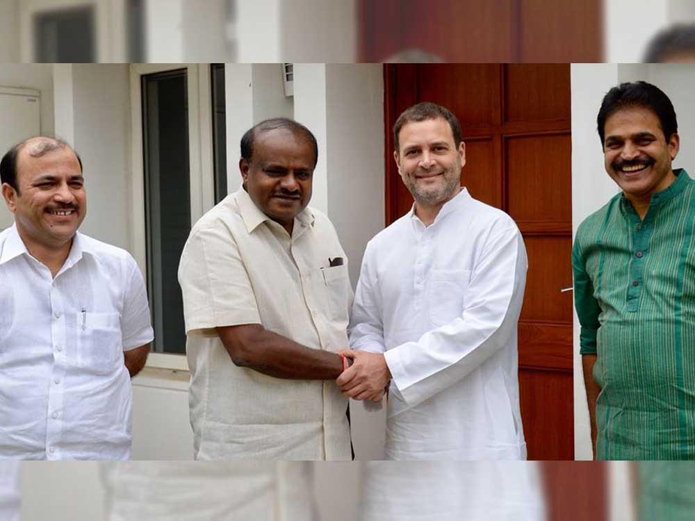 Karnataka Chief Minister H D Kumaraswamy met Congress president Rahul Gandhi in New Delhi on Monday. JD(S) general secretary Danish Ali (Left) and Congress general secretary in charge of Karnataka K C Venugopal (Right) are also seen.