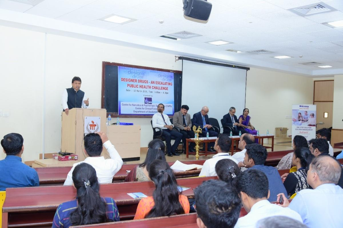 Mangalore City North MLA Dr Y Bharath Shetty speaks at a seminar on designer drugs at Interact Lecture Hall in Manipal.