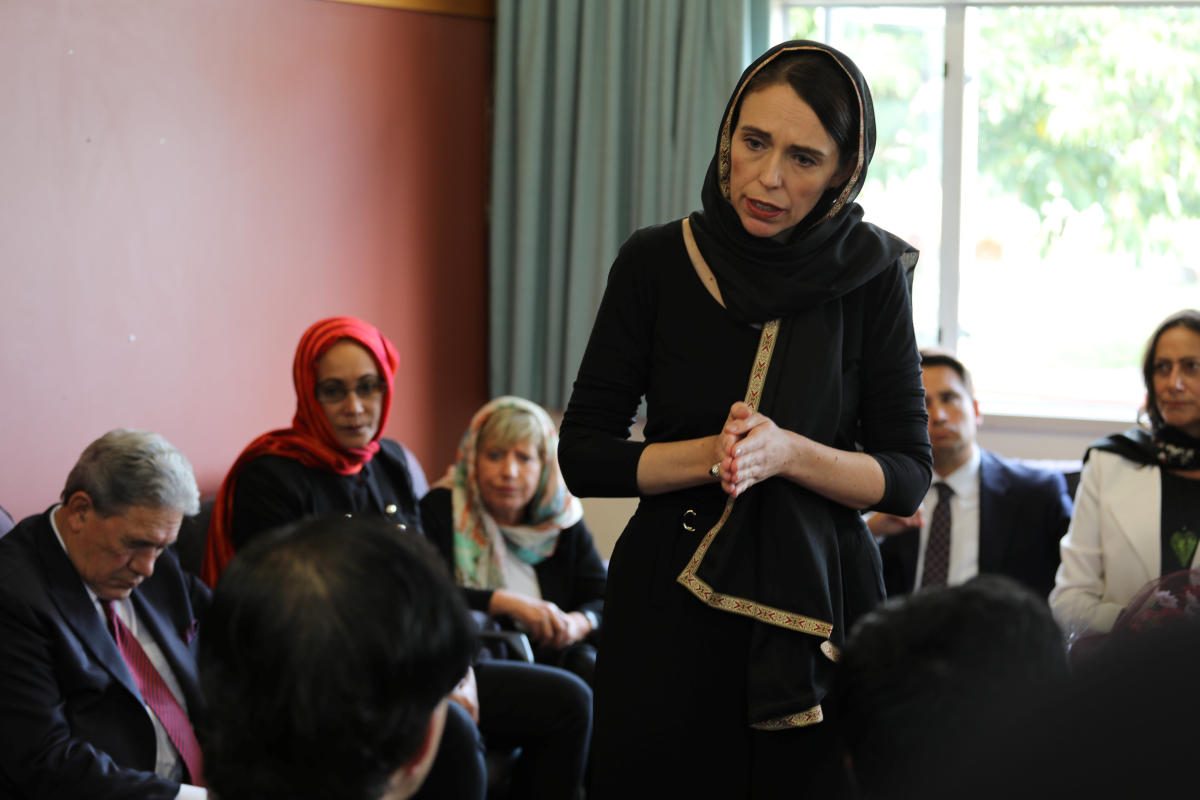 New Zealand Prime Minister Jacinda Ardern speaks to representatives of the Muslim community at Canterbury refugee centre in Christchurch, New Zealand March 16, 2019. REUTERS