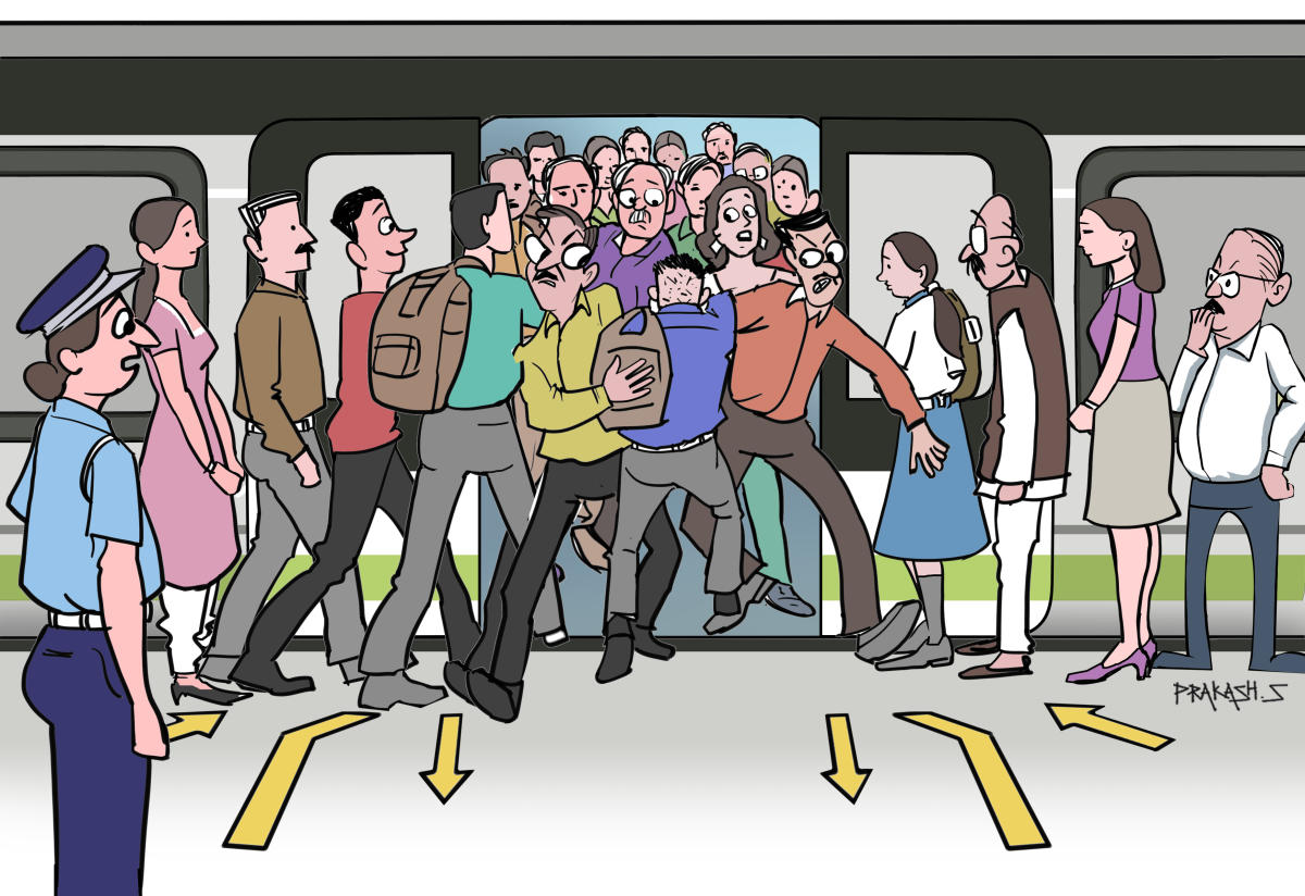 There are passengers so eager to get in that they think nothing of blocking the way of those deboarding