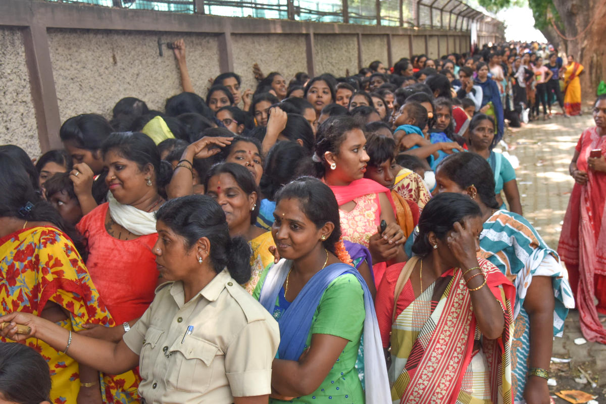IPL Cricket fans purchasing Rs 800/- ticket for April 25th RCB Vs Chennai Super Kings IPL Cricket match at Chinnaswamy Stadium in Bengaluru on Sunday. Photo by S K Dinesh