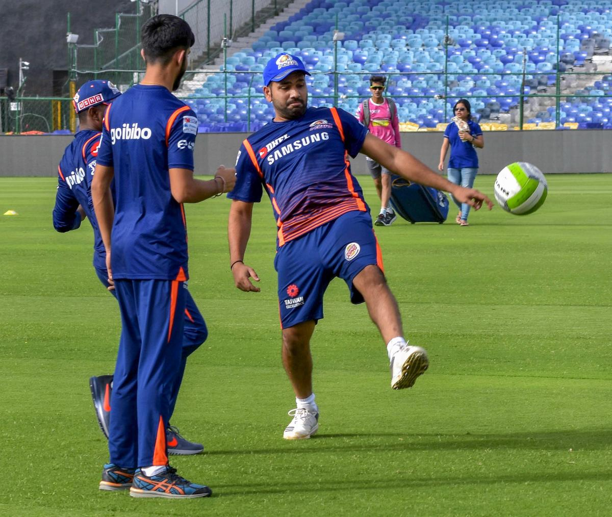 Mumbai Indians IPL team captain Rohit Sharma during a practice session. PTI Photo